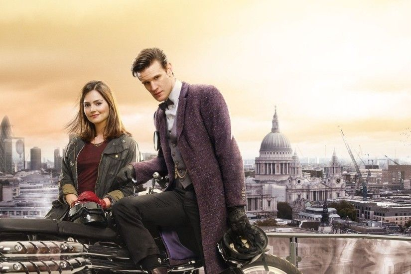 2560x1080 Wallpaper doctor who, matt smith, jenna-louise coleman,  motorcycle, london