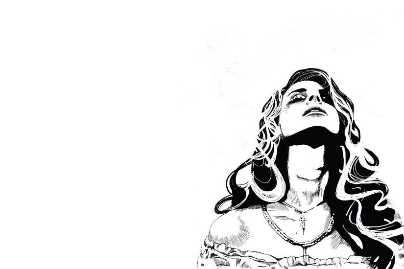 Download now full hd wallpaper lana del rey graffiti black and white art  long hair ...