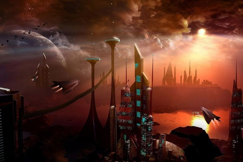 Sci Fi - City Red UFO Sci Fi Wallpaper
