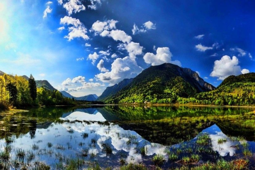 Summer sunshine scenes lake mountain wallpapers on your desktop screen .