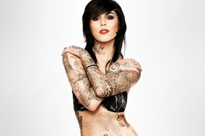 Kat Von D, Brunette, Tattoo, Simple background HD Wallpapers / Desktop and  Mobile Images & Photos