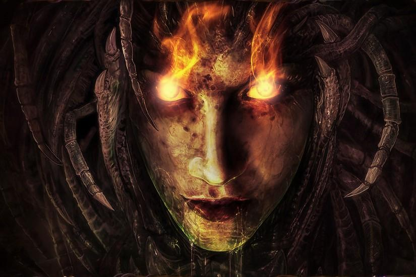 dark horror fantasy evil face demon witch fire wallpaper background