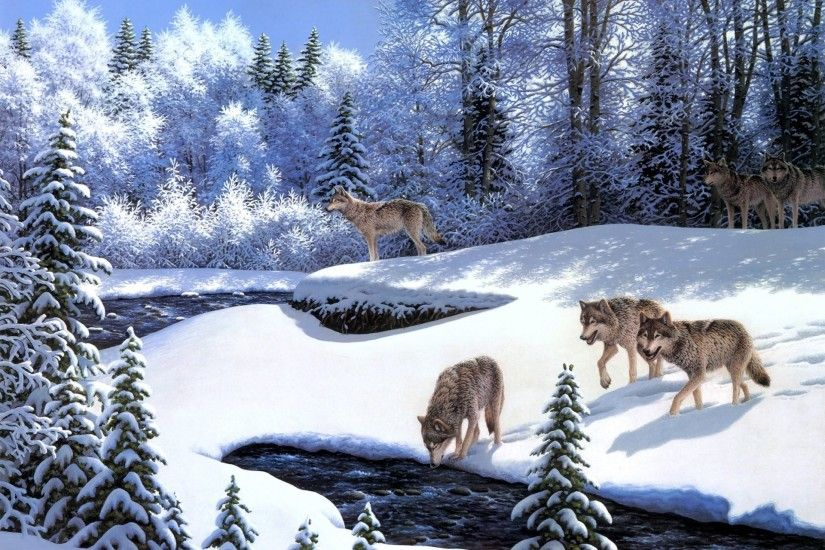 robert a. richert on the prowl painting animals wolves wolf pack river snow  winter fairy