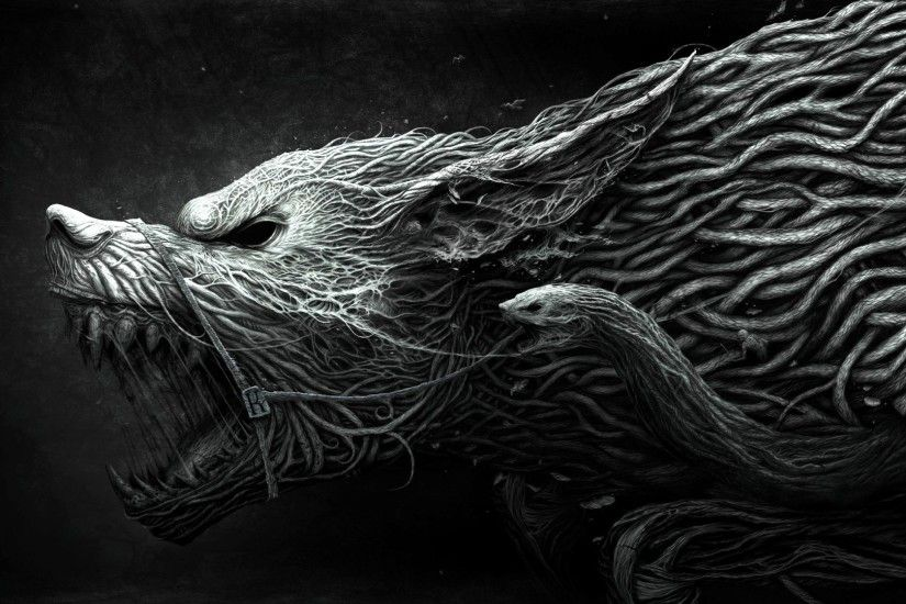 wolf hellhound art black and white dangerous noise darkness exotic animal  wallpaper