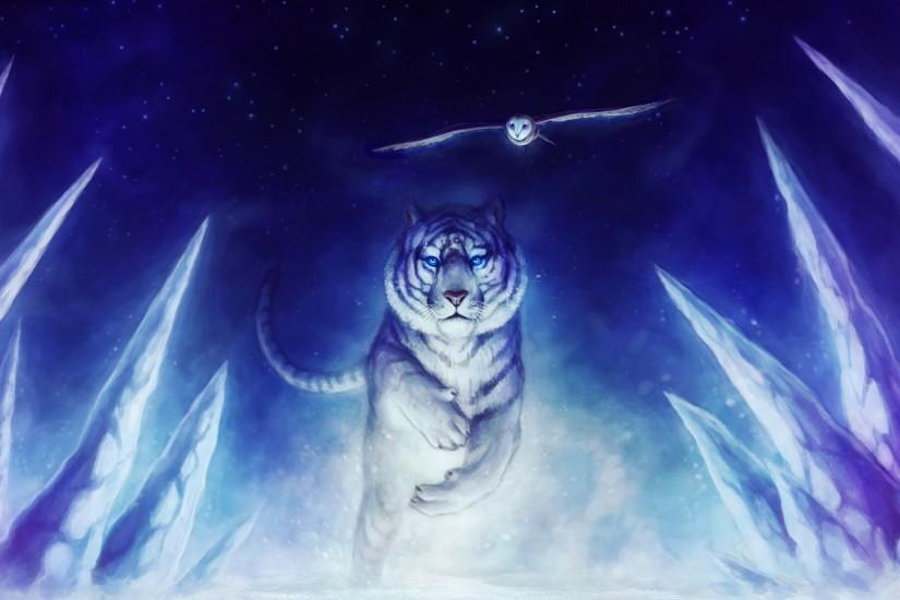 White Tiger Owl Art