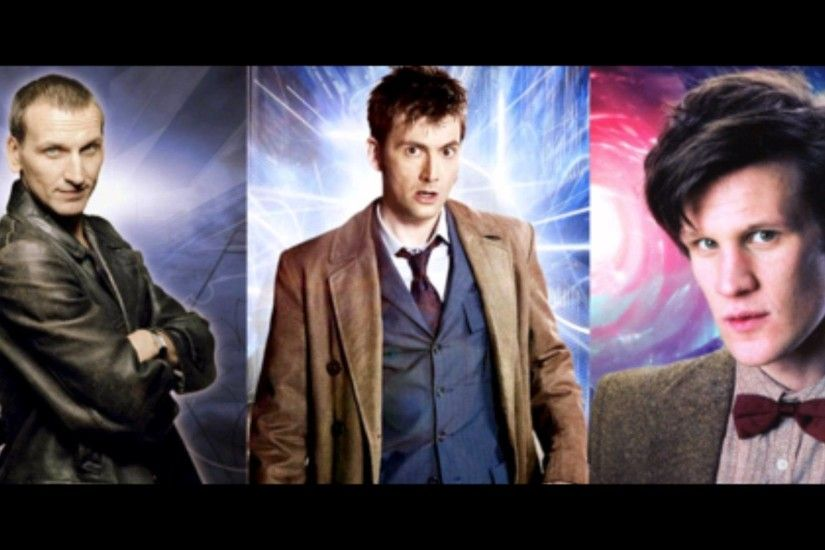 Christopher Eccleston as the Ninth Doctor, David Tennant as the Tenth Doctor,  and Matt