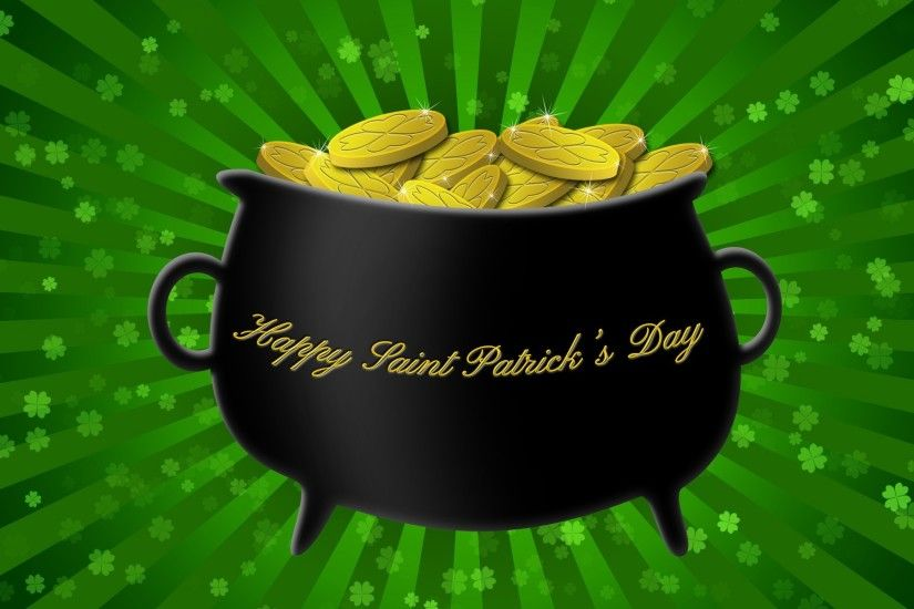 Happy St. Patrick's Day gold pot wallpaper