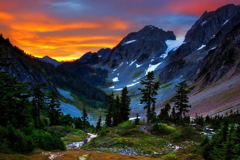 Earth - Mountain Earth Landscape Beautiful Valley Tree Sky Sunset Wallpaper
