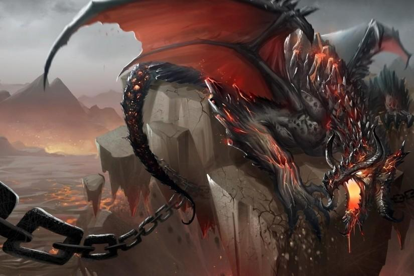 Preview wallpaper dragon, jaws, chains, stone, shatter 1920x1080