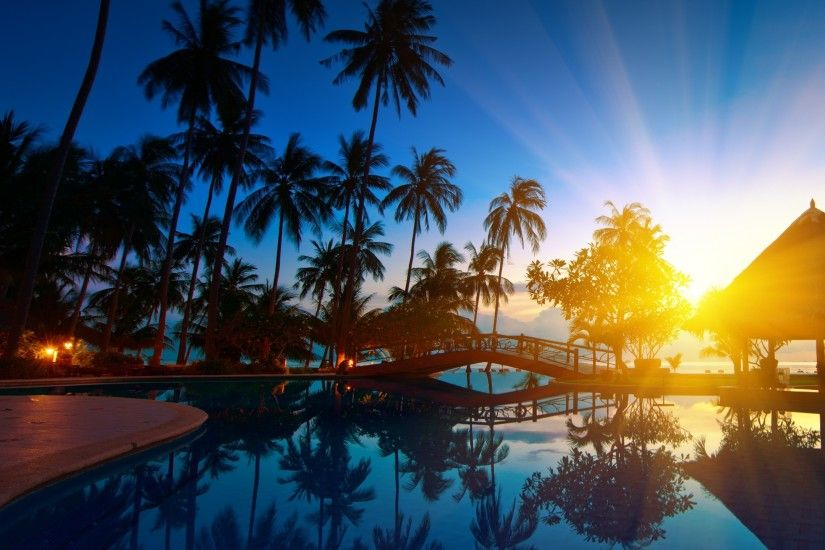Preview wallpaper sunrise, thailand, paradise, trees, sea water, palm trees,