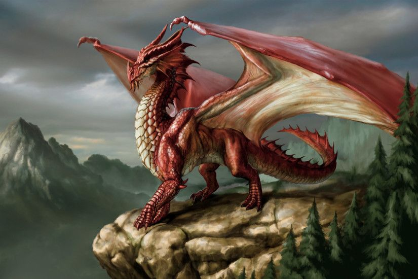 Majestic Red Dragon Wallpaper