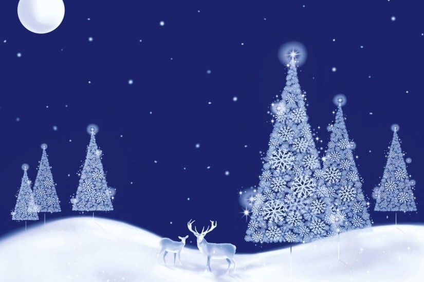 Glowing white Christmas trees on a beautiful winter night wallpaper