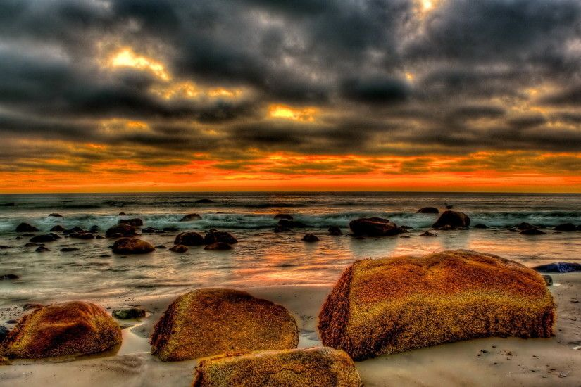 marvelous sunset on a rock strewn beach hdr - Desktop Nexus Wallpapers
