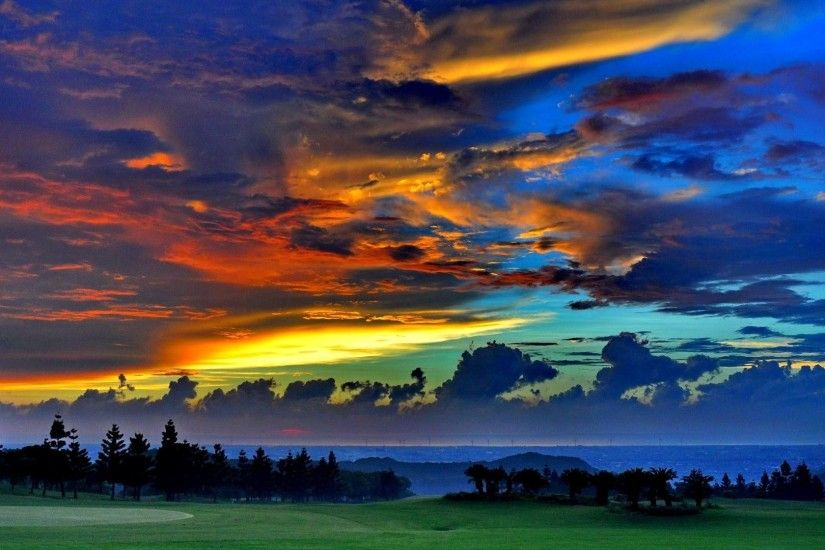 Golf Tag - Golf Colors Trees Sky Clouds Course Dramatic Desktop Wallpaper  for HD 16: