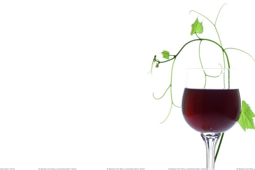 Red Wine With Green Leaves And White Background Wallpaper