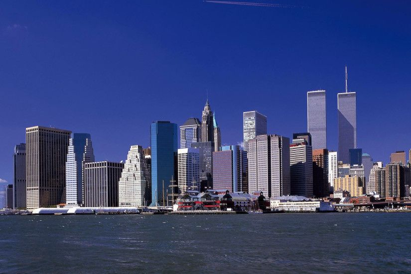 1920x1080 Wallpaper twin towers, new york, world trade center, skyscrapers,  river,