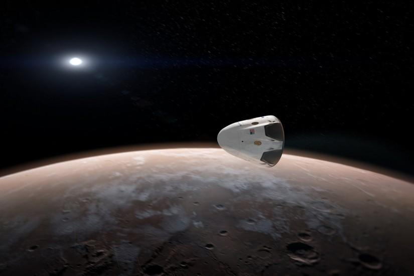 Artists concept for sending SpaceX Red Dragon spacecraft to Mars as early  as 2018. Credit