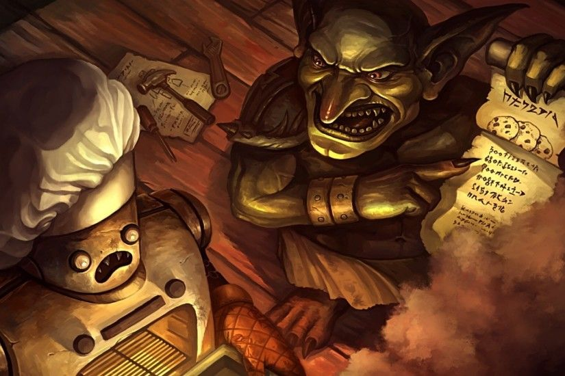 Preview wallpaper hearthstone, goblin, robot, cook, smoke, recipe, art  1920x1080