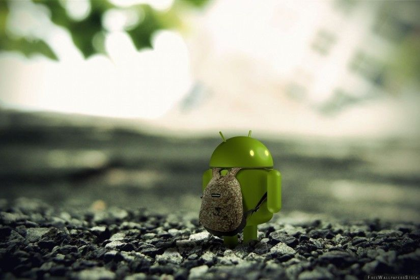 Download Free Wallpaper Android Robot Backpack Stones