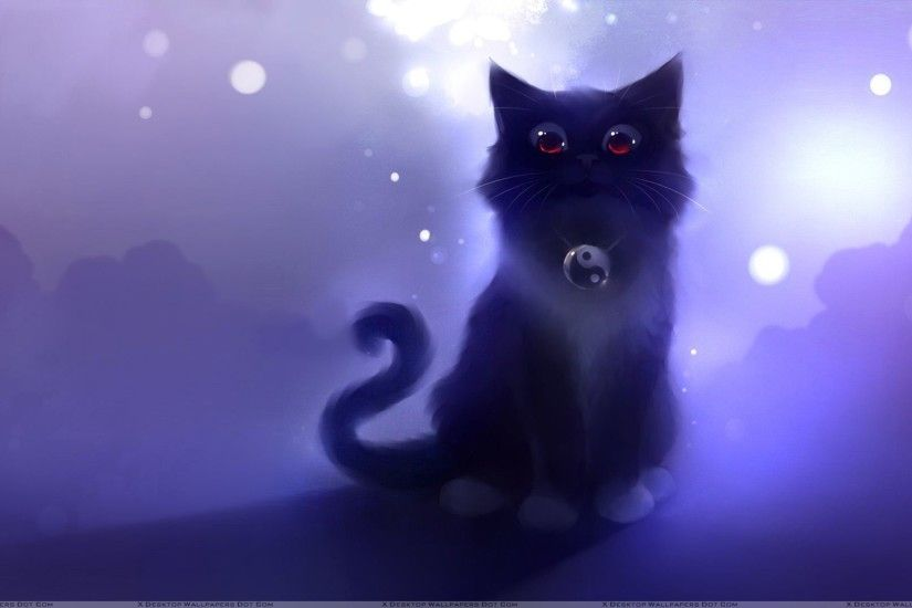 Cartoon Black Cat Sitting Wallpaper