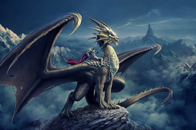 Dragon Sitting On Rock Wallpapers