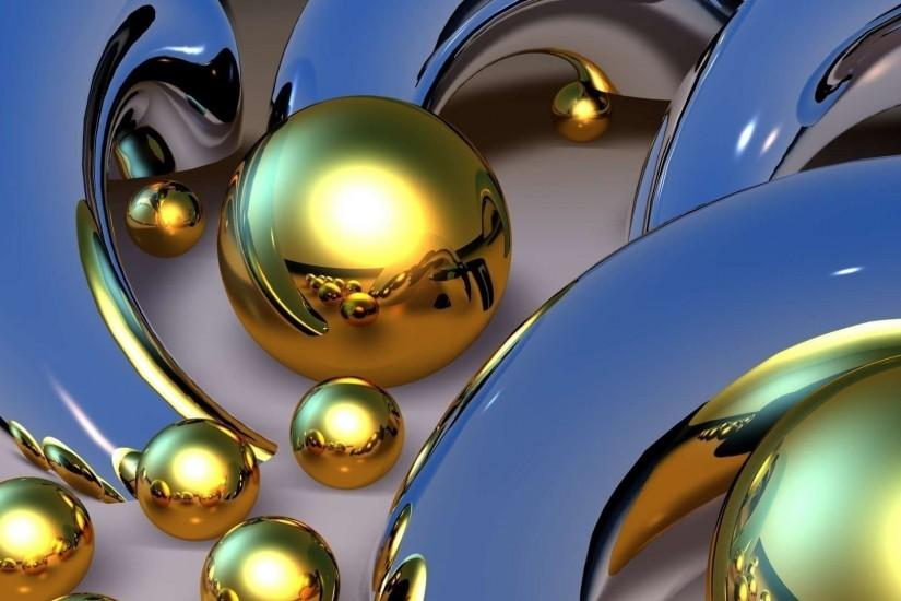 Gold Balls Download 3D Wallpaper.
