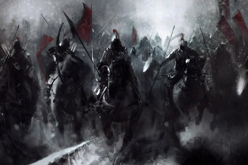 Artwork Warriors Medieval Horses Knights Battles free iPhone or Android  Full HD wallpaper.