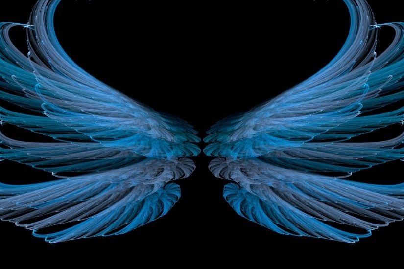 Download now full hd wallpaper blue wings dark background ...