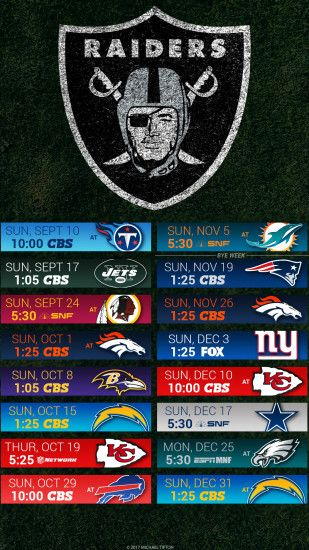 Oakland Raiders 2017 schedule turf logo wallpaper free iphone 5, 6, 7, ...