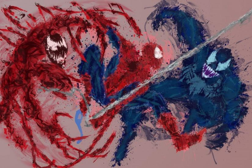 Paint splatter wallpaper with Spidey, Venom, and Carnage I made.