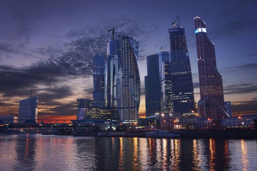 moscow city moscow russia river sunset sky skyscraper