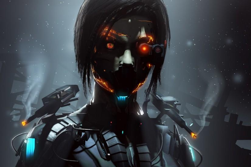 1920x1080 Wallpaper robot, cyborg, eyes, dark
