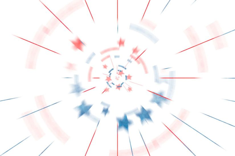 Subscription Library Patriotic animation background of red white and blue  stars and circles spinning into scene.