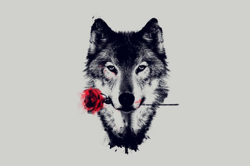 Animal - Wolf Artistic Red Rose Wallpaper