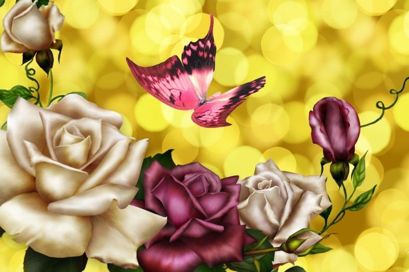 Pink Butterfly Backgrounds | Shinee Pink Roses Butterfly Shine Wallpaper  with 1920x1080 Resolution