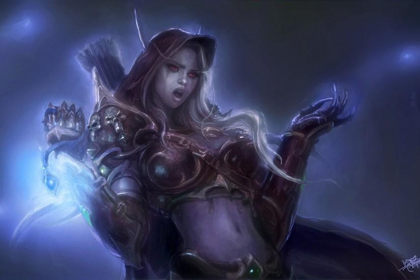 Arts lady sylvanas windrunner world of warcraft wow armor magic elf  wallpaper