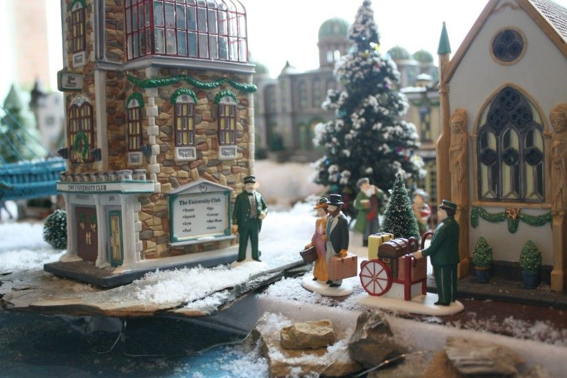 In this next photo, notice the courthouse in the background and the  Roebling suspension bridge to the left? christmas village ...