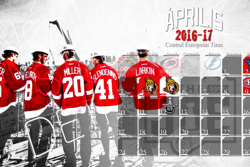 Schedule Wallpaper for the Detroit Red Wings Regular Season 2016. Game  times are CET,