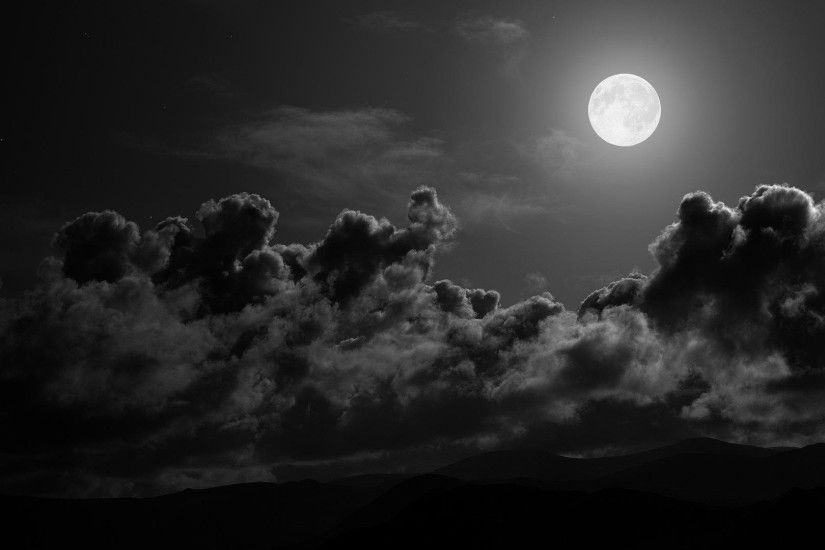 Black and White Moon Wallpaper