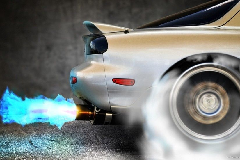 1366x768 Mazda RX-7 Exhaust Fire wallpaper
