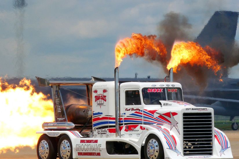 trucks race racing gd drag racing semi tractor big rig fire flames jets