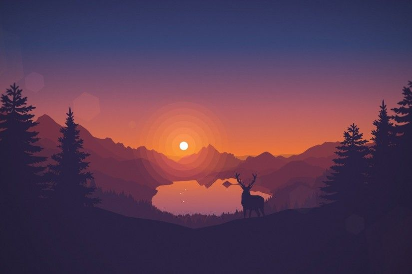 ... A deer on a background of a sunset HD Wallpaper ...