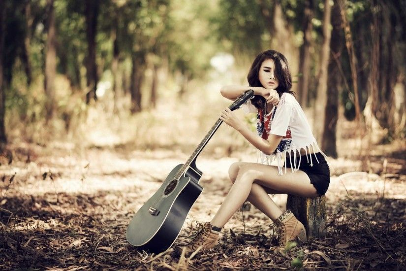 Guitar Girl HD Background Wallpaper 21919
