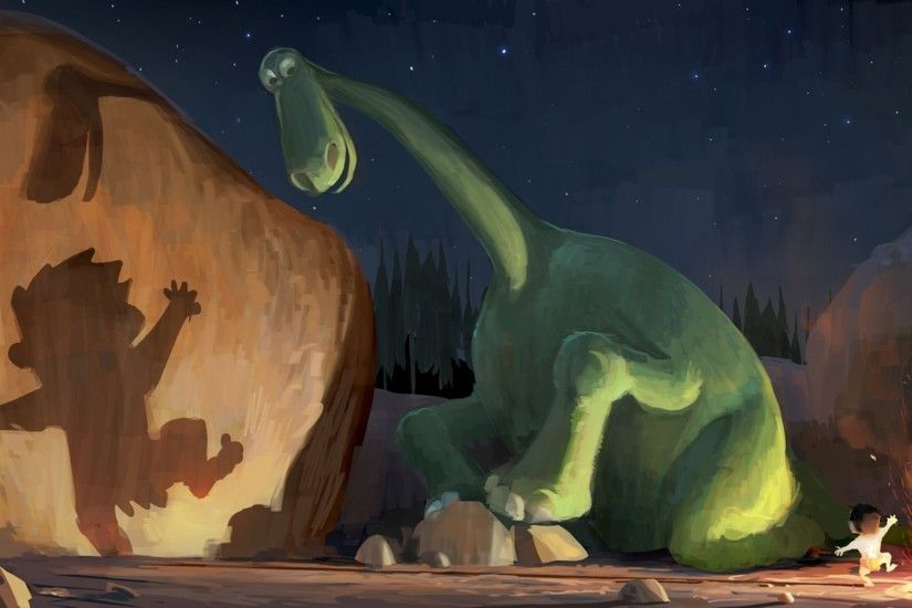 digital Art, Animals, Nature, Pixar Animation Studios, Dinosaurs, The Good  Dinosaur, Stones, Night, Fire, Shadow, Stars, Dancing Wallpapers HD /  Desktop and ...