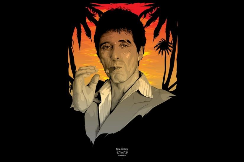 Scarface Al Pacino Tony Montana Black Cigar Smoking wallpaper