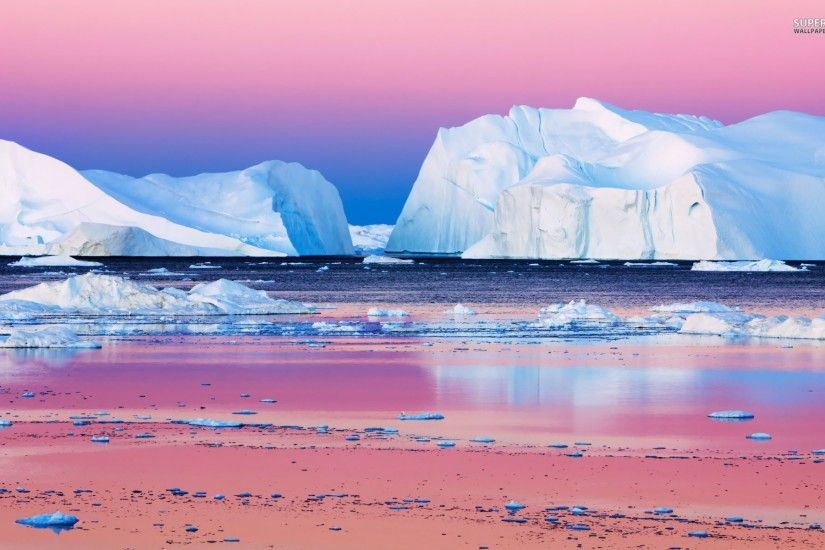 Icebergs Disko Bay Greenland wallpapers and stock photos