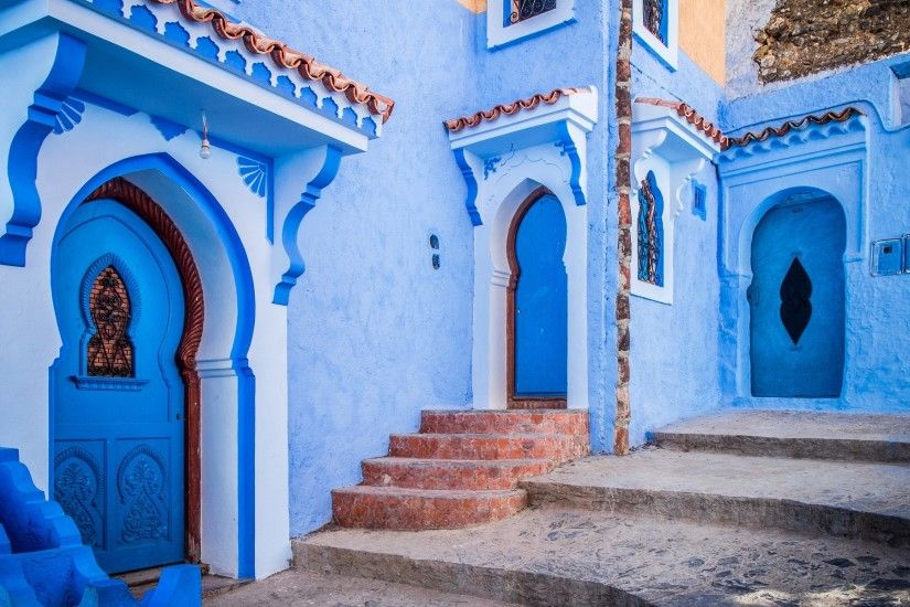 Man Made - Chefchaouen Man Made Villa House Blue Santorini Wallpaper