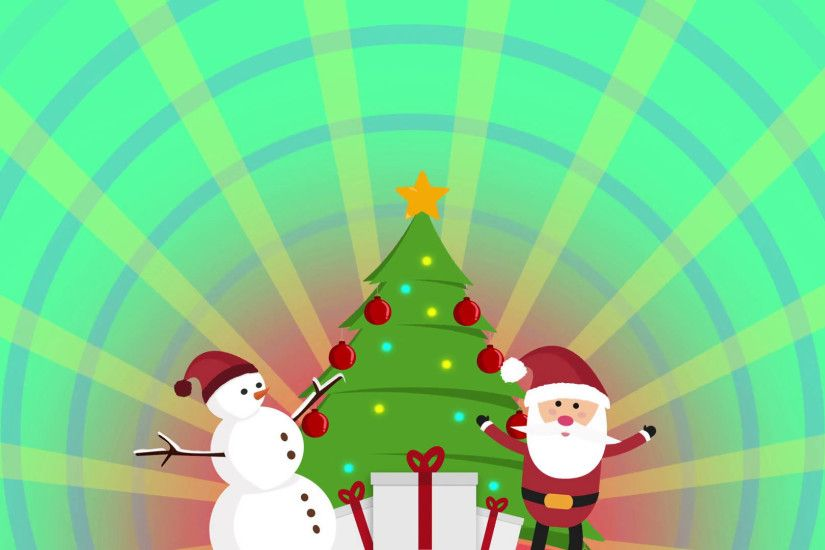cute animation of Santa clause, snowman and christmas tree over colorful  background and sunburst rotation