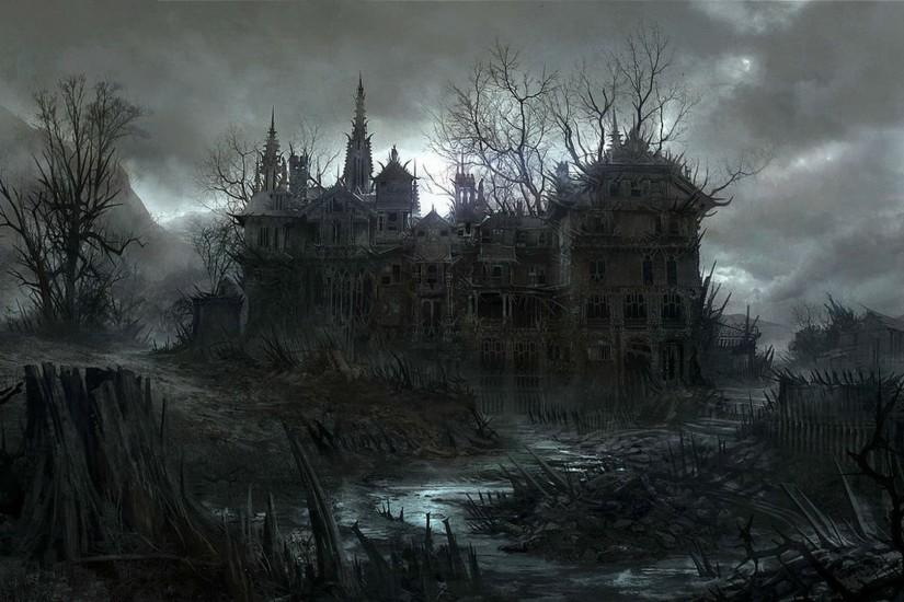 HALLOWEEN dark haunted house spooky wallpaper | 1920x1080 | 497956 .