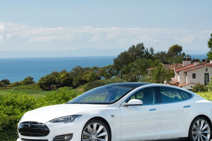 Preview wallpaper tesla, model s, tesla model s, white 2048x2048
